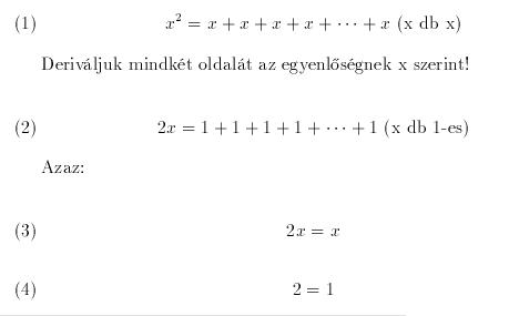 1 egyenlő 2 deriválva