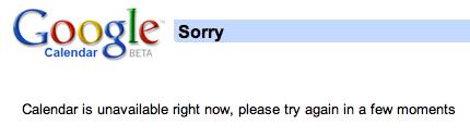 google calendar error